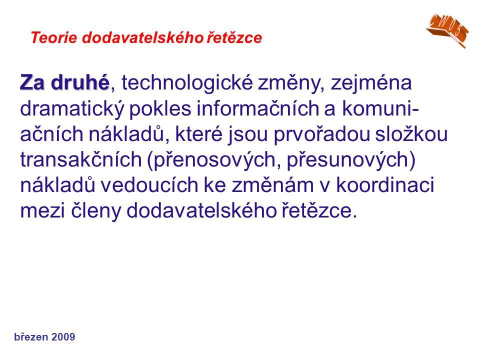 březen 2009 Teorie dodavatelského řetězce Za druhé Za druhé, technologické změny, zejména dramatický pokles informačních a komuni- ačních nákladů, kte