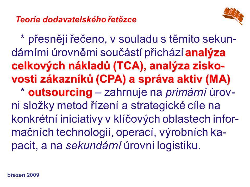 březen 2009 Teorie dodavatelského řetězce analýza celkových nákladů (TCA), analýza zisko- vosti zákazníků (CPA) a správa aktiv (MA) * přesněji řečeno,