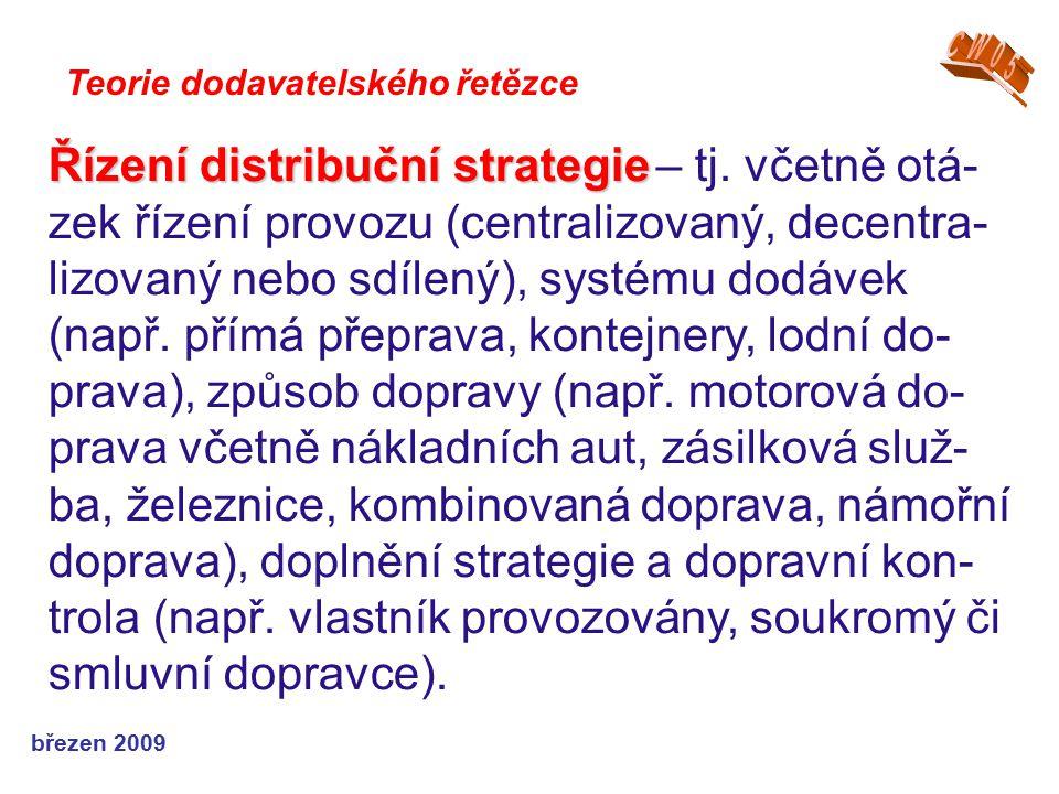 březen 2009 Teorie dodavatelského řetězce Řízení distribuční strategie Řízení distribuční strategie – tj. včetně otá- zek řízení provozu (centralizova