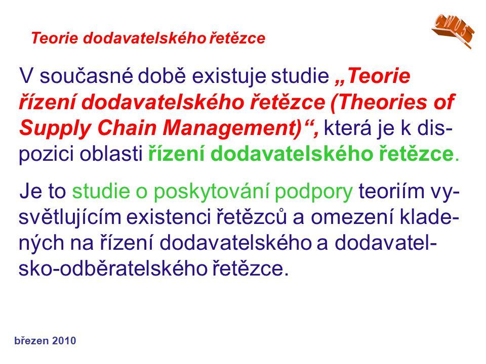 """březen 2010 V současné době existuje studie """"Teorie řízení dodavatelského řetězce (Theories of Supply Chain Management)"""", která je k dis- pozici oblas"""