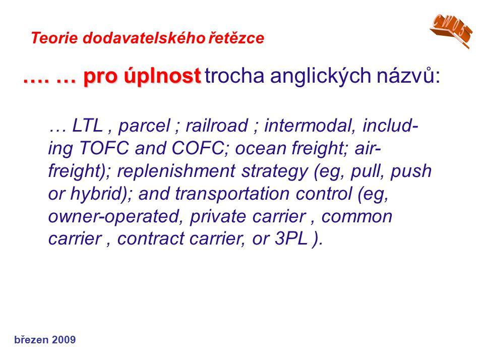 březen 2009 Teorie dodavatelského řetězce …. … pro úplnost …. … pro úplnost trocha anglických názvů: … LTL, parcel ; railroad ; intermodal, includ- in