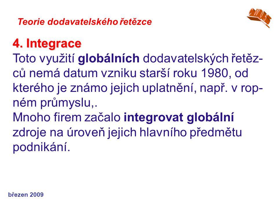 březen 2009 Teorie dodavatelského řetězce 4. Integrace Toto využití globálních dodavatelských řetěz- ců nemá datum vzniku starší roku 1980, od kterého
