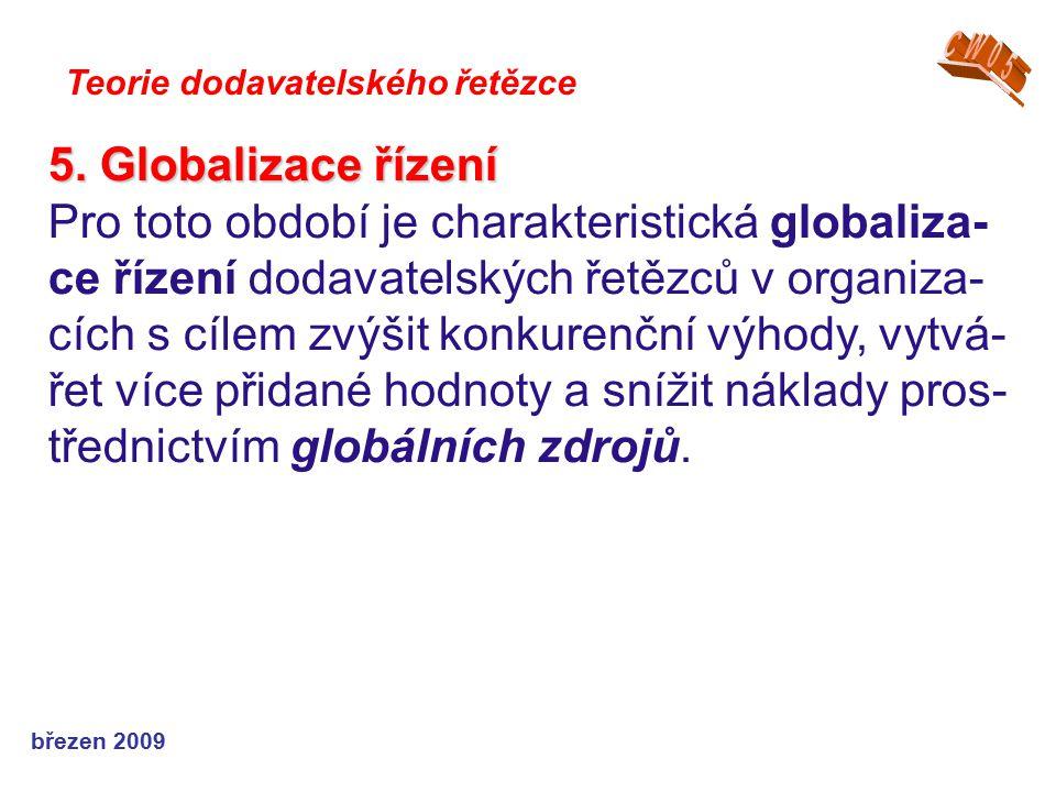 březen 2009 Teorie dodavatelského řetězce 5. Globalizace řízení Pro toto období je charakteristická globaliza- ce řízení dodavatelských řetězců v orga