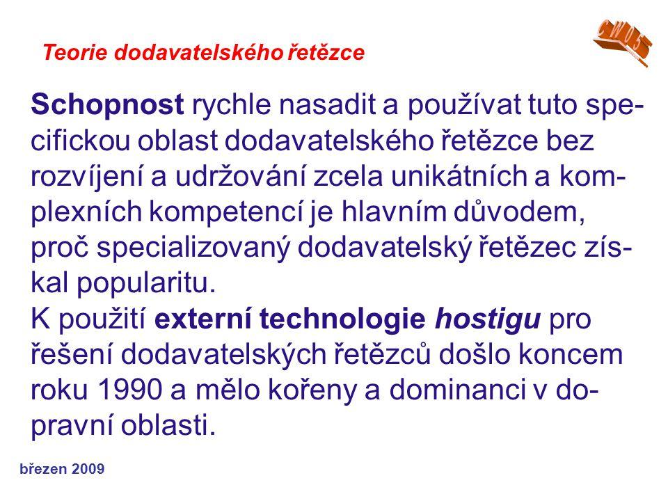březen 2009 Teorie dodavatelského řetězce Schopnost rychle nasadit a používat tuto spe- cifickou oblast dodavatelského řetězce bez rozvíjení a udržová