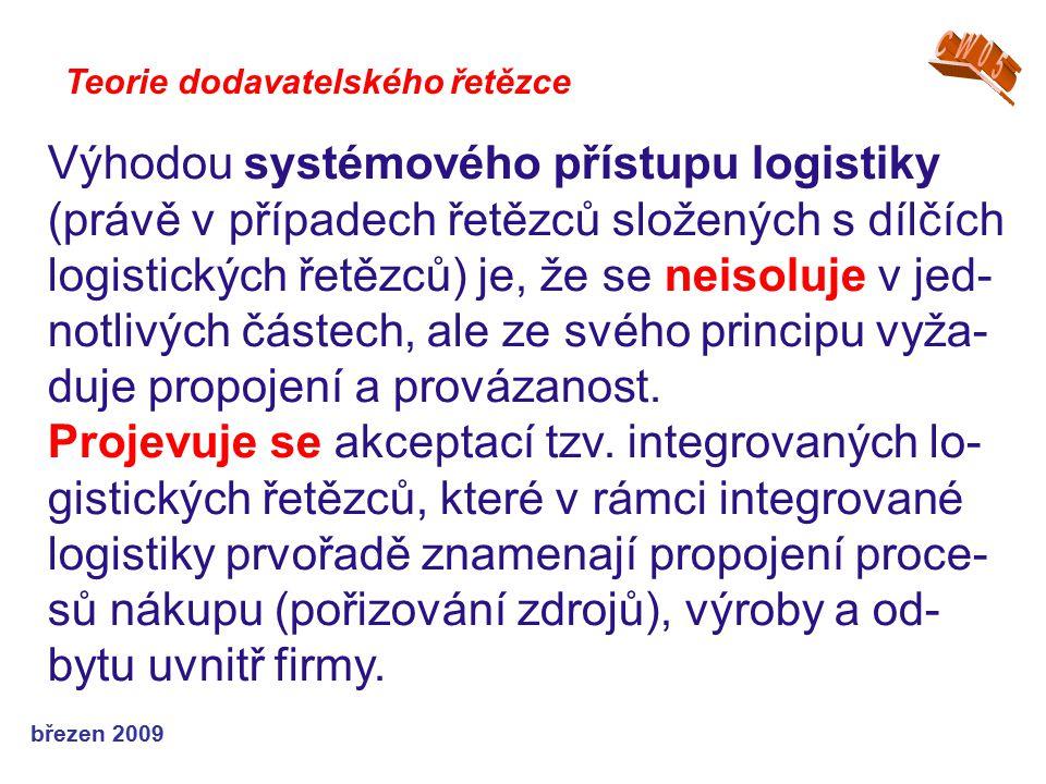 březen 2009 Teorie dodavatelského řetězce Výhodou systémového přístupu logistiky (právě v případech řetězců složených s dílčích logistických řetězců)