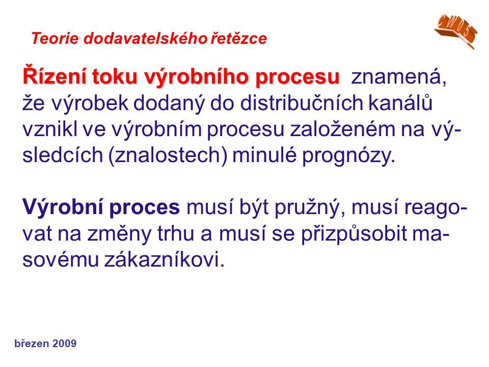 březen 2009 Teorie dodavatelského řetězce Řízení toku výrobního procesu Řízení toku výrobního procesu znamená, že výrobek dodaný do distribučních kaná