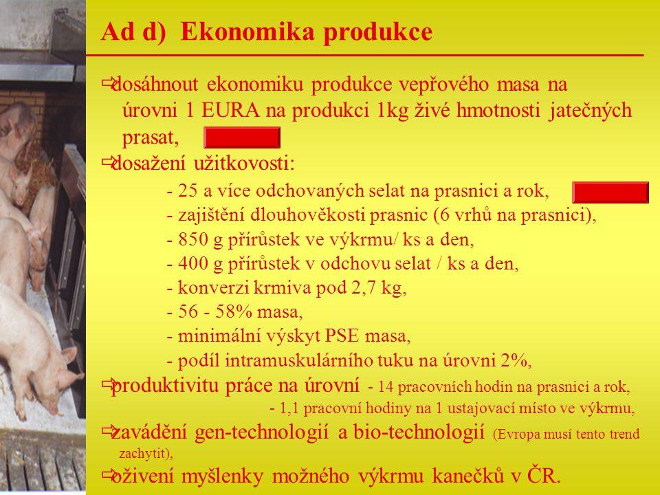 Ad d) Ekonomika produkce  dosáhnout ekonomiku produkce vepřového masa na úrovni 1 EURA na produkci 1kg živé hmotnosti jatečných prasat,  dosažení už