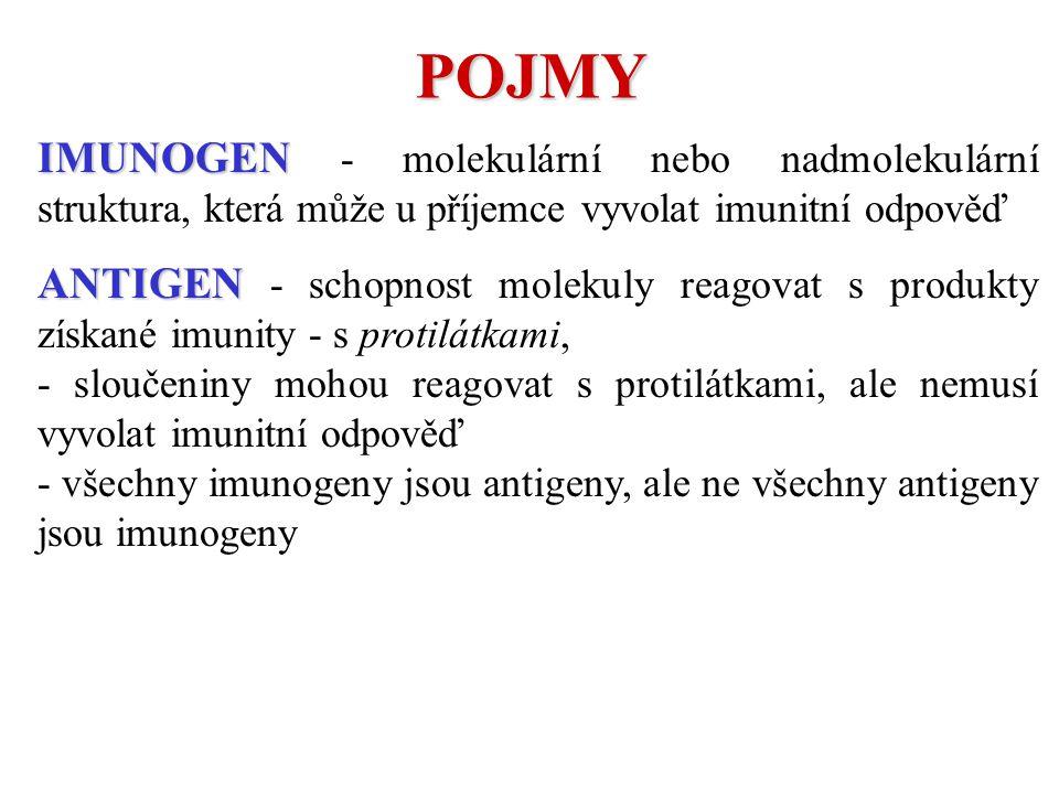IMUNOGEN IMUNOGEN - molekulární nebo nadmolekulární struktura, která může u příjemce vyvolat imunitní odpověď ANTIGEN ANTIGEN - schopnost molekuly reagovat s produkty získané imunity - s protilátkami, - sloučeniny mohou reagovat s protilátkami, ale nemusí vyvolat imunitní odpověď - všechny imunogeny jsou antigeny, ale ne všechny antigeny jsou imunogeny POJMY