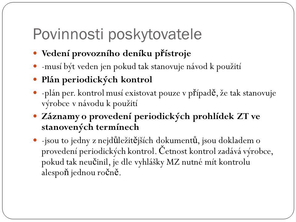 Povinnosti poskytovatele Vedení provozního deníku p ř ístroje -musí být veden jen pokud tak stanovuje návod k použití Plán periodických kontrol -plán