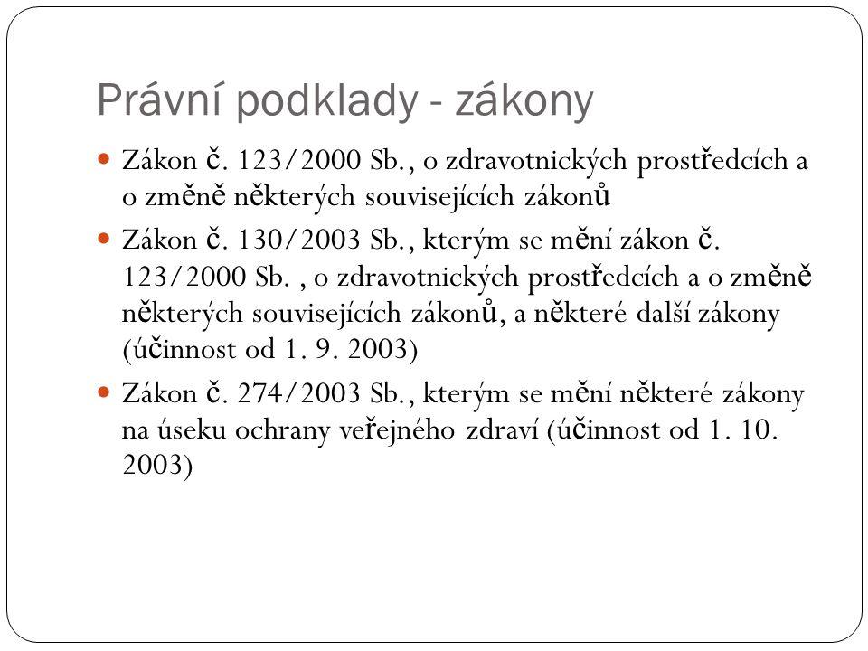 Právní podklady - zákony Zákon č.
