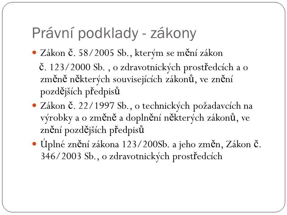 Právní podklady - zákony Zákon č. 58/2005 Sb., kterým se m ě ní zákon č.