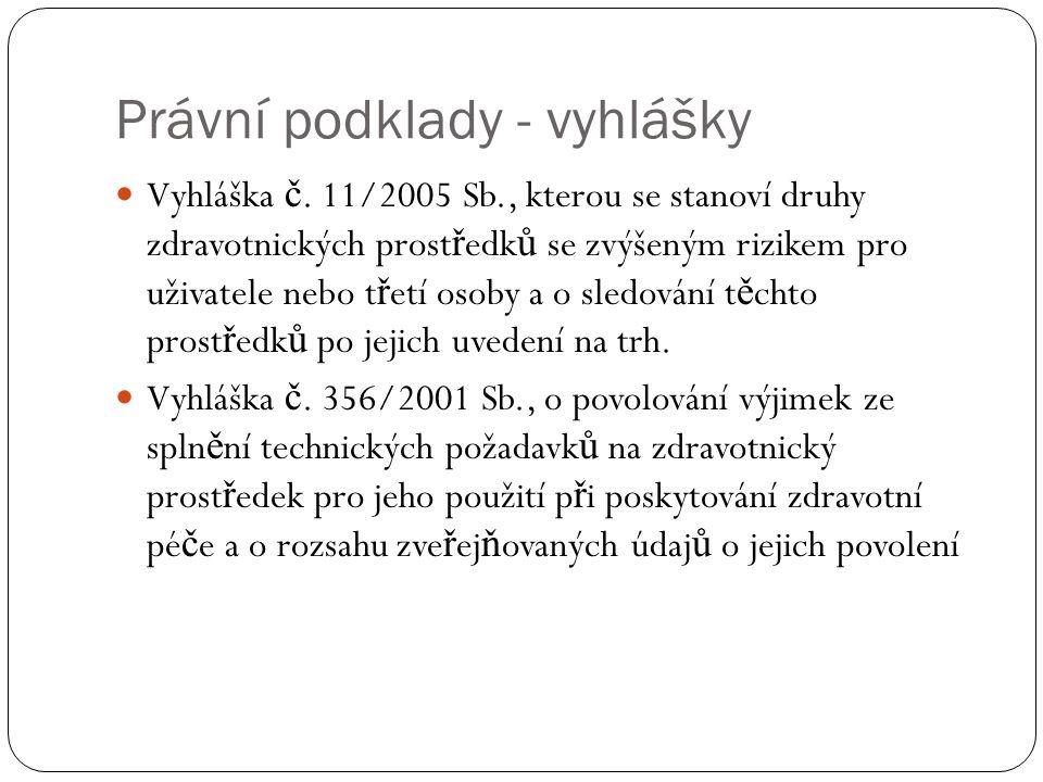 Právní podklady - vyhlášky Vyhláška č. 11/2005 Sb., kterou se stanoví druhy zdravotnických prost ř edk ů se zvýšeným rizikem pro uživatele nebo t ř et