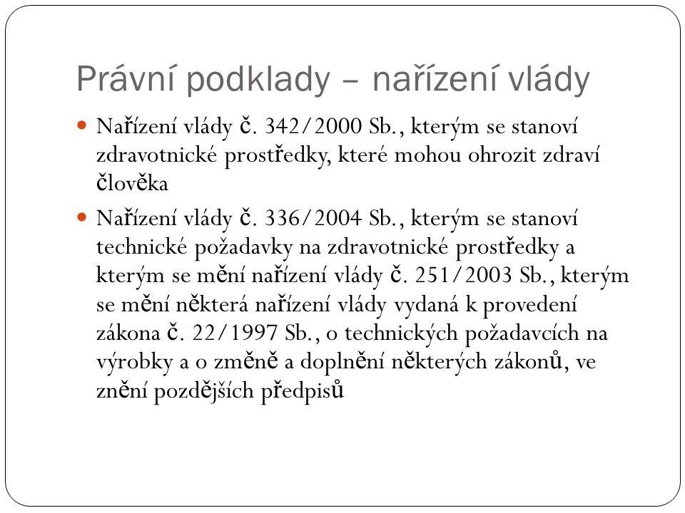 Právní podklady – nařízení vlády Na ř ízení vlády č.