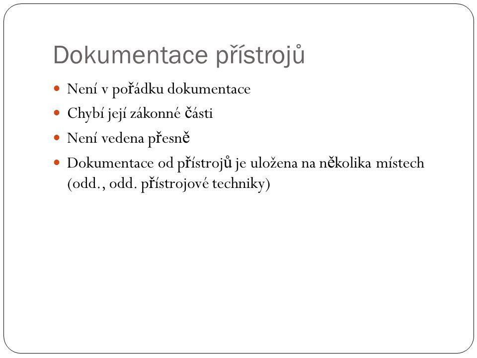 Dokumentace přístrojů Záru č ní, p ř íp.