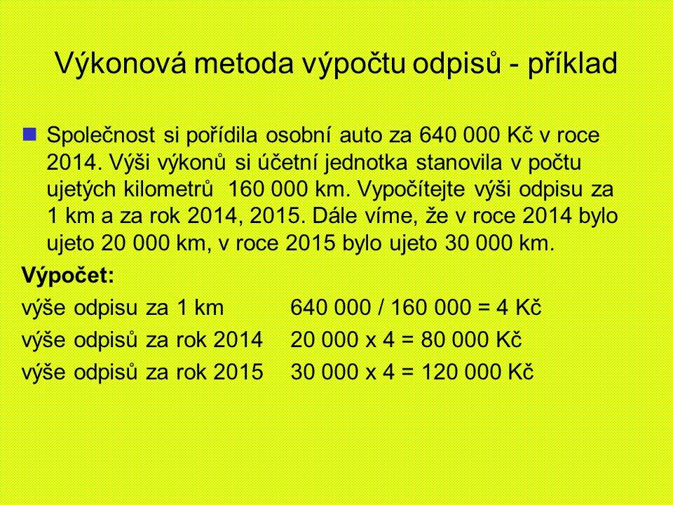 Výkonová metoda výpočtu odpisů - příklad Společnost si pořídila osobní auto za 640 000 Kč v roce 2014.