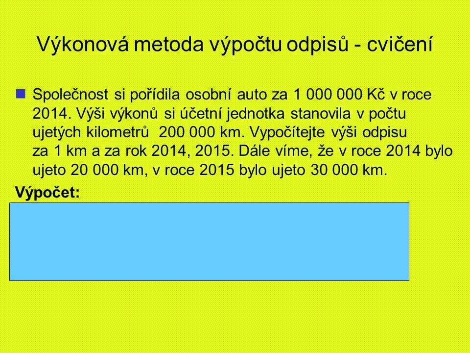 Výkonová metoda výpočtu odpisů - cvičení Společnost si pořídila osobní auto za 1 000 000 Kč v roce 2014.