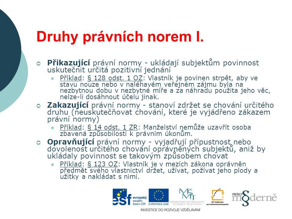 Druhy právních norem II.