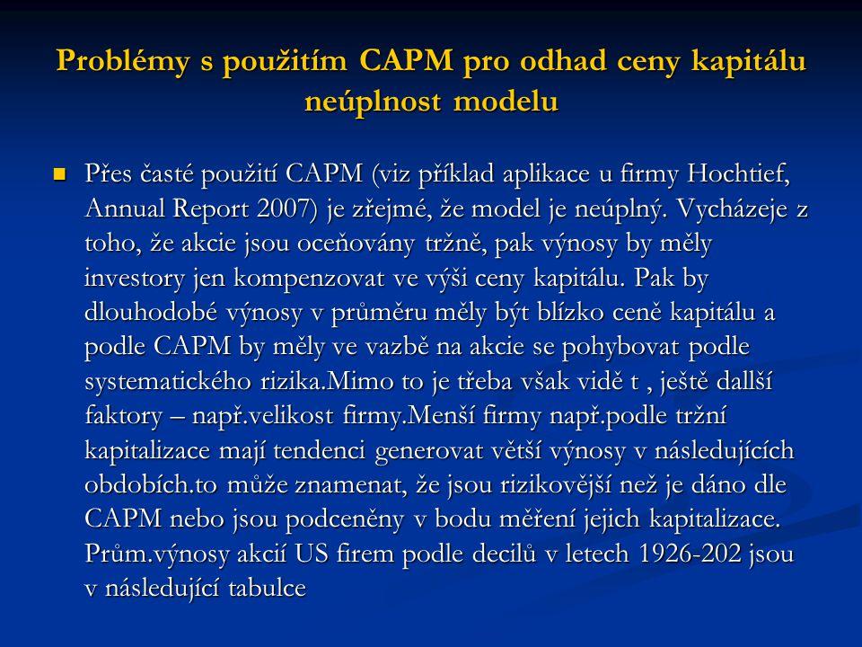 Přes časté použití CAPM (viz příklad aplikace u firmy Hochtief, Annual Report 2007) je zřejmé, že model je neúplný.