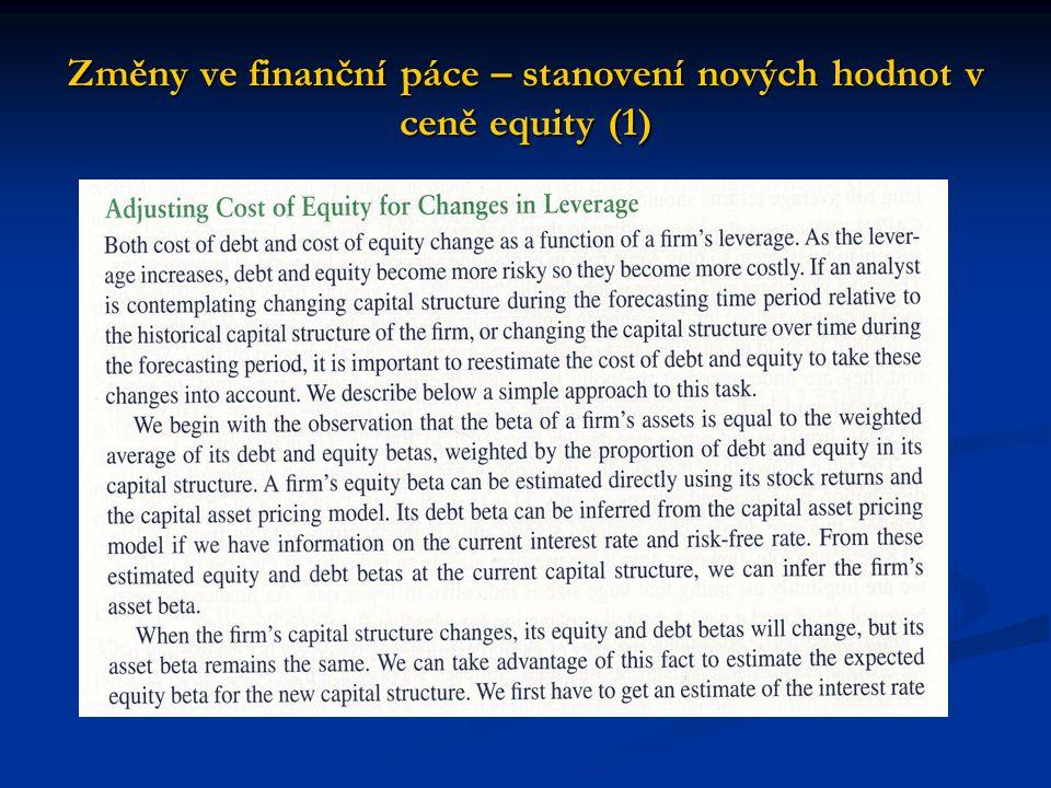 Změny ve finanční páce – stanovení nových hodnot v ceně equity (1)