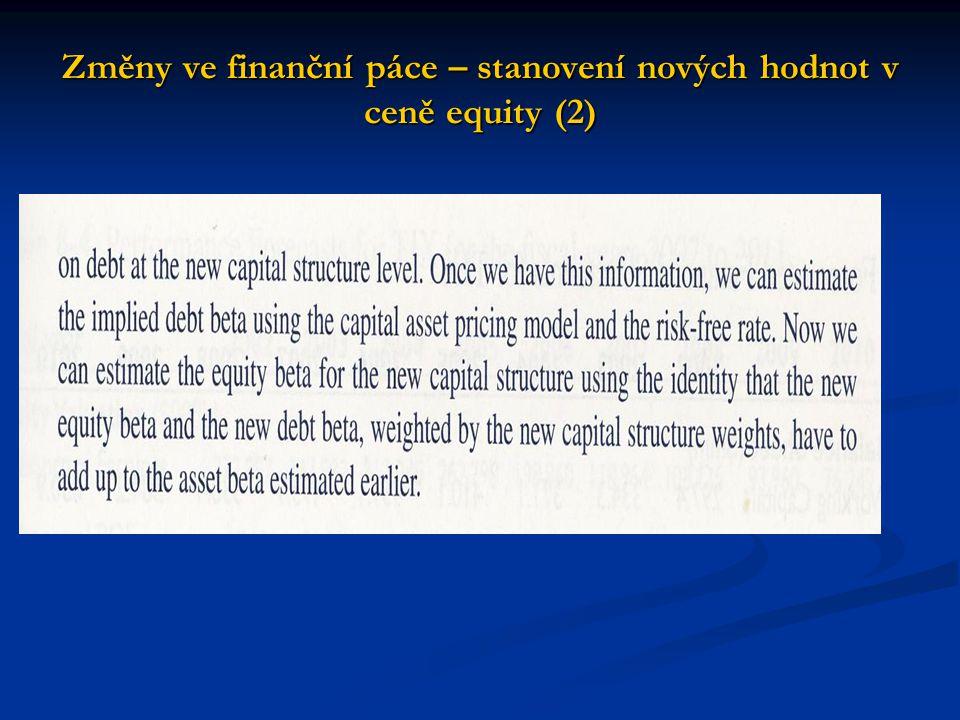 Změny ve finanční páce – stanovení nových hodnot v ceně equity (2)
