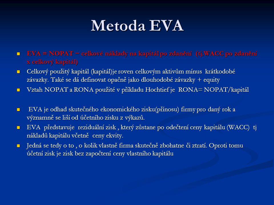 Metoda EVA EVA = NOPAT − celkové náklady na kapitál po zdanění (tj.WACC po zdanění x celkový kapitál) EVA = NOPAT − celkové náklady na kapitál po zdan