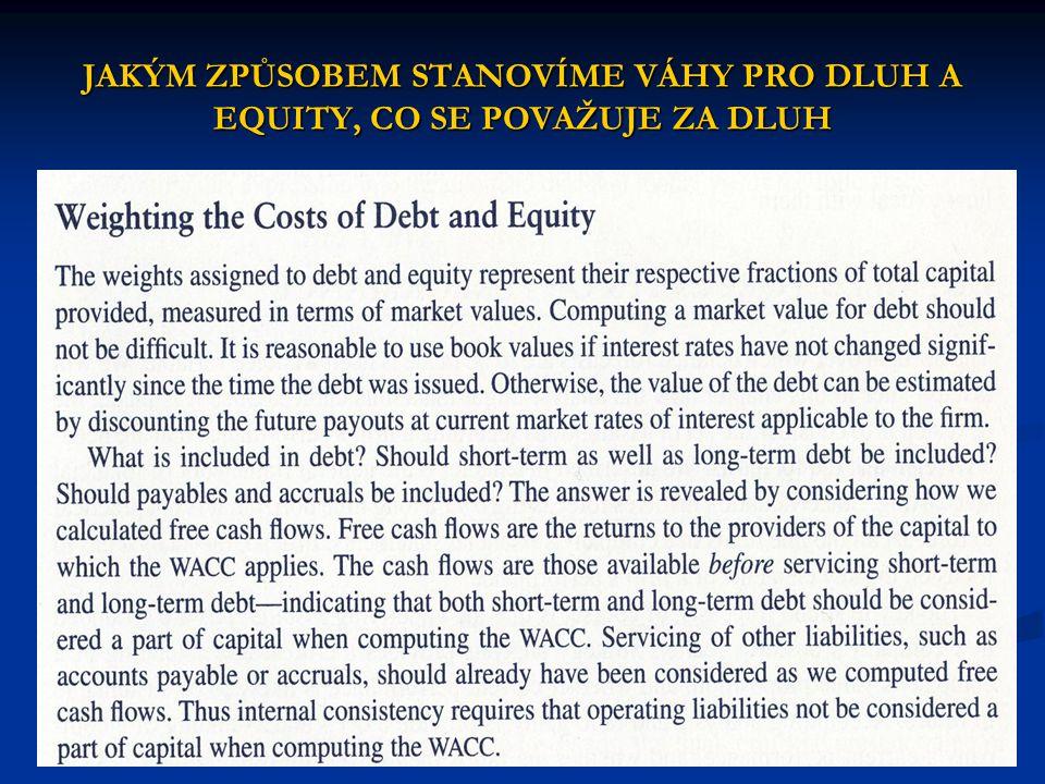 Váhy pro dluh a equity se stanoví jako podíl z celkového kapitálu, měřeného v tržní ceně.