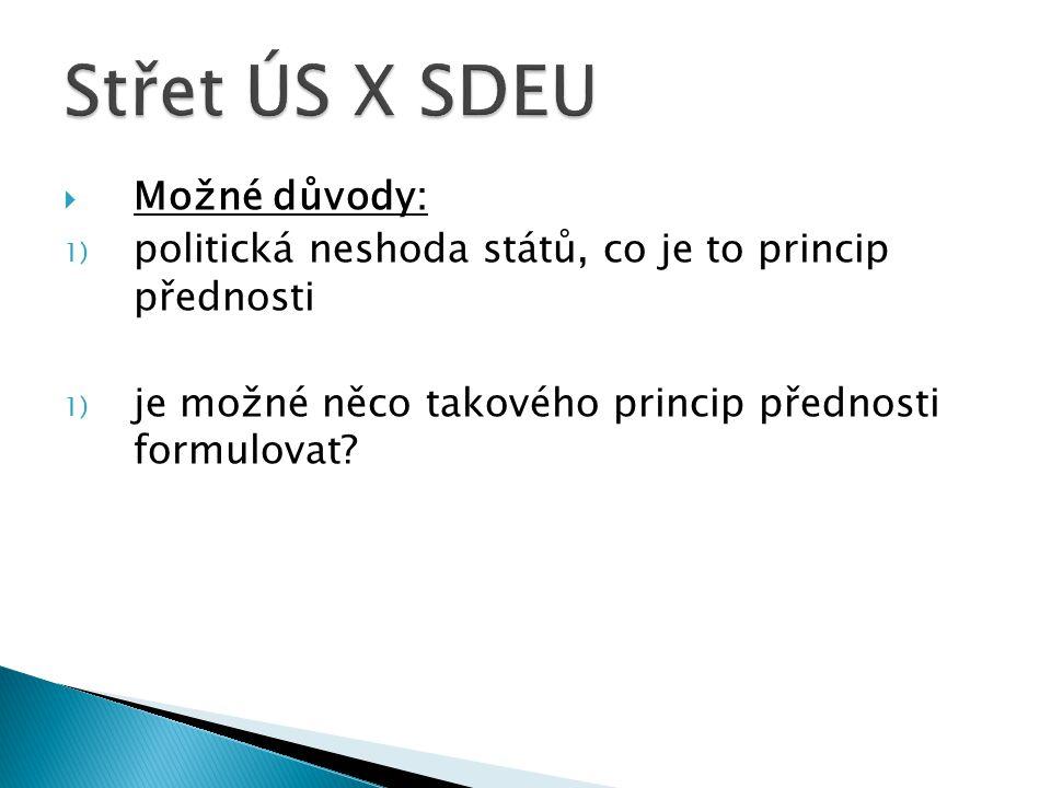 1) z pohledu SDEU 2) z pohledu ústavních soudů a nejvyšších soudů členských států