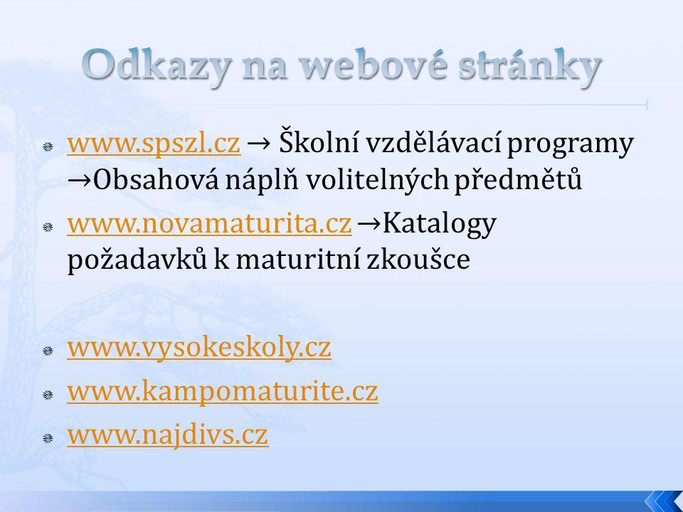  www.spszl.cz → Školní vzdělávací programy →Obsahová náplň volitelných předmětů www.spszl.cz  www.novamaturita.cz →Katalogy požadavků k maturitní zkoušce www.novamaturita.cz  www.vysokeskoly.cz www.vysokeskoly.cz  www.kampomaturite.cz www.kampomaturite.cz  www.najdivs.cz www.najdivs.cz