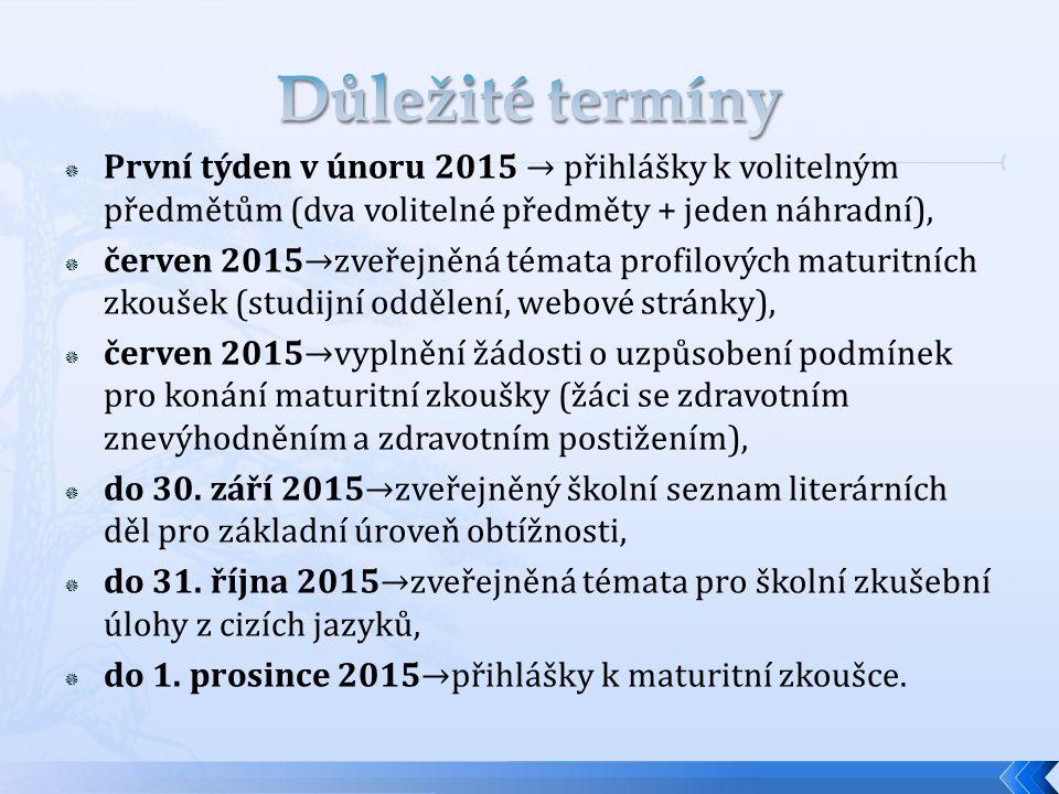  První týden v únoru 2015 → přihlášky k volitelným předmětům (dva volitelné předměty + jeden náhradní),  červen 2015→zveřejněná témata profilových maturitních zkoušek (studijní oddělení, webové stránky),  červen 2015→vyplnění žádosti o uzpůsobení podmínek pro konání maturitní zkoušky (žáci se zdravotním znevýhodněním a zdravotním postižením),  do 30.