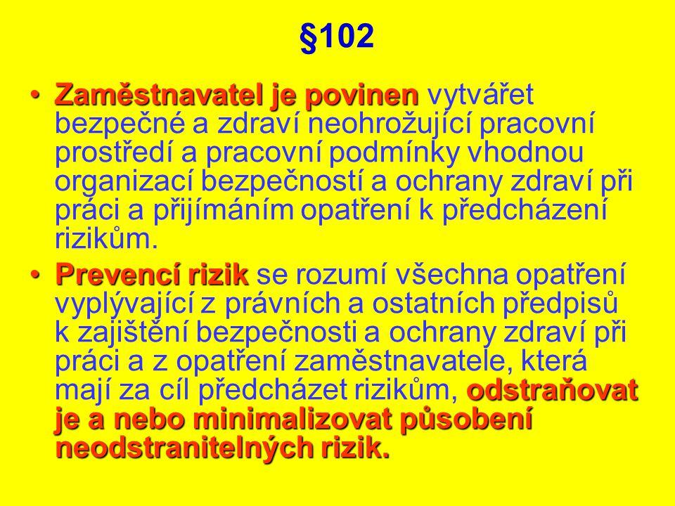 §102 Zaměstnavatel je povinenZaměstnavatel je povinen vytvářet bezpečné a zdraví neohrožující pracovní prostředí a pracovní podmínky vhodnou organizac