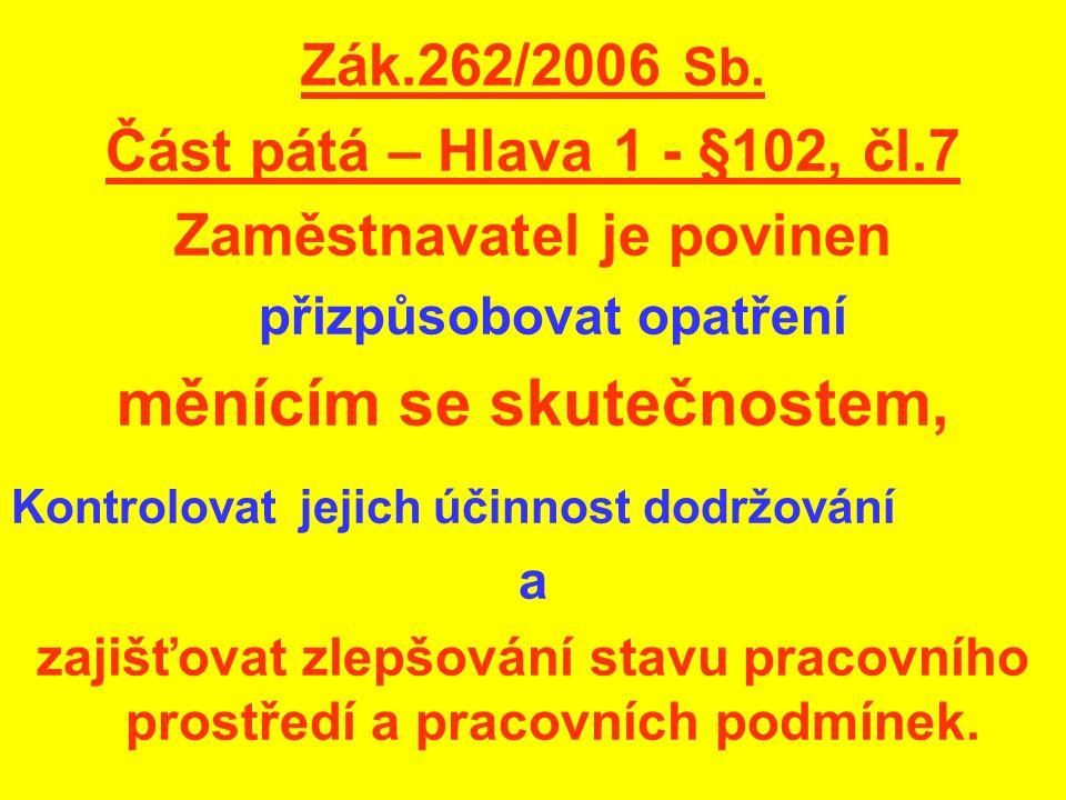 Zák.262/2006 Sb. Část pátá – Hlava 1 - §102, čl.7 Zaměstnavatel je povinen přizpůsobovat opatření měnícím se skutečnostem, Kontrolovat jejich účinnost