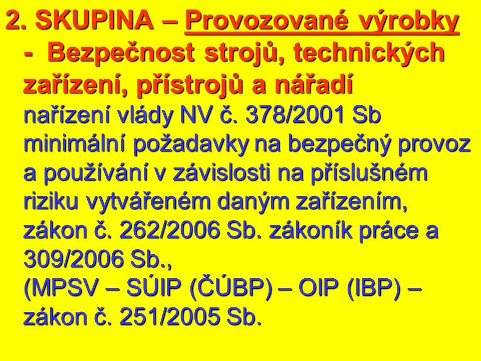 2. SKUPINA – Provozované výrobky - Bezpečnost strojů, technických zařízení, přístrojů a nářadí nařízení vlády NV č. 378/2001 Sb minimální požadavky na
