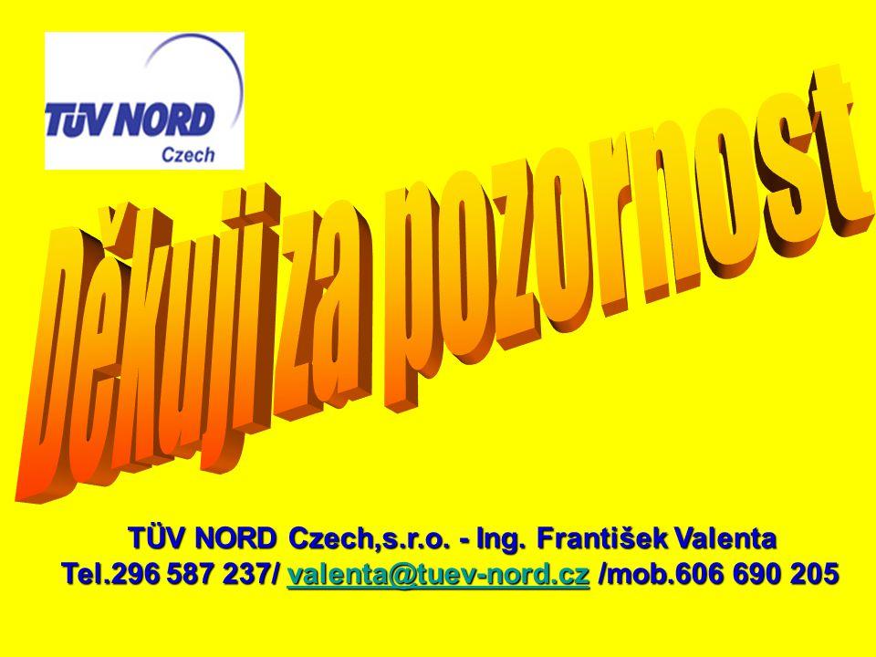TÜV NORD Czech,s.r.o. - Ing. František Valenta Tel.296 587 237/ valenta@tuev-nord.cz /mob.606 690 205 valenta@tuev-nord.cz