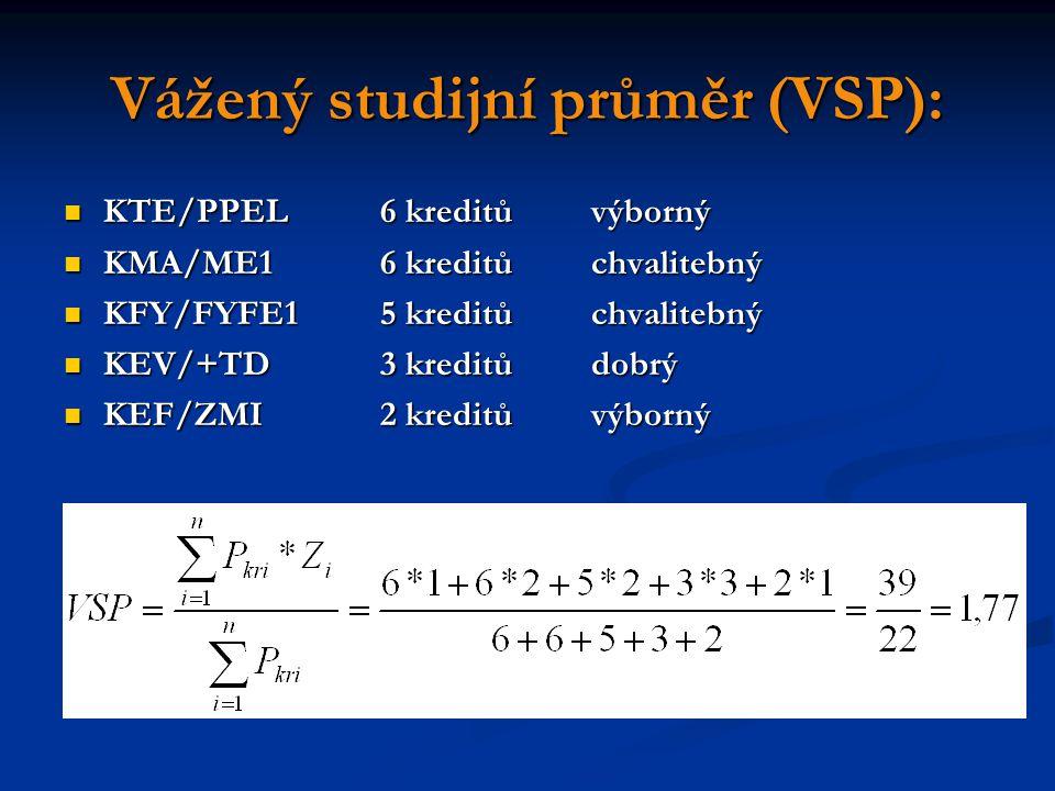 Vážený studijní průměr (VSP): KTE/PPEL6 kreditůvýborný KTE/PPEL6 kreditůvýborný KMA/ME16 kreditůchvalitebný KMA/ME16 kreditůchvalitebný KFY/FYFE15 kreditůchvalitebný KFY/FYFE15 kreditůchvalitebný KEV/+TD3 kreditůdobrý KEV/+TD3 kreditůdobrý KEF/ZMI2 kreditůvýborný KEF/ZMI2 kreditůvýborný