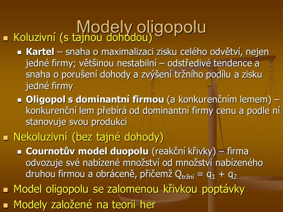 Charakteristika oligopolu malý počet firem malý počet firem vyráběný produkt může být homogenní (čistý oligopol) nebo heterogenní (diferencovaný oligo