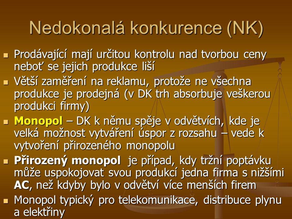 Nedokonalá konkurence (NK) Prodávající mají určitou kontrolu nad tvorbou ceny neboť se jejich produkce liší Prodávající mají určitou kontrolu nad tvorbou ceny neboť se jejich produkce liší Větší zaměření na reklamu, protože ne všechna produkce je prodejná (v DK trh absorbuje veškerou produkci firmy) Větší zaměření na reklamu, protože ne všechna produkce je prodejná (v DK trh absorbuje veškerou produkci firmy) Monopol – DK k němu spěje v odvětvích, kde je velká možnost vytváření úspor z rozsahu – vede k vytvoření přirozeného monopolu Monopol – DK k němu spěje v odvětvích, kde je velká možnost vytváření úspor z rozsahu – vede k vytvoření přirozeného monopolu Přirozený monopol je případ, kdy tržní poptávku může uspokojovat svou produkcí jedna firma s nižšími AC, než kdyby bylo v odvětví více menších firem Přirozený monopol je případ, kdy tržní poptávku může uspokojovat svou produkcí jedna firma s nižšími AC, než kdyby bylo v odvětví více menších firem Monopol typický pro telekomunikace, distribuce plynu a elektřiny Monopol typický pro telekomunikace, distribuce plynu a elektřiny