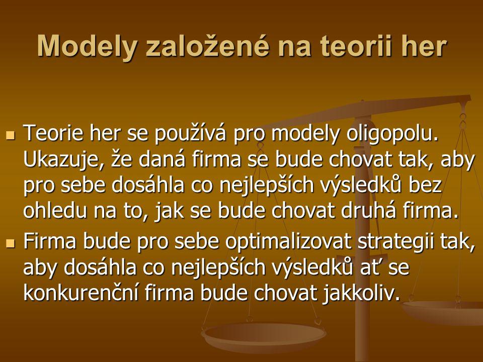 Model se zalomenou křivkou poptávky D1D1 D2D2 Q P D 1 : pokud firma zvýší cenu, ostatní firmy ji nebudou následovat.