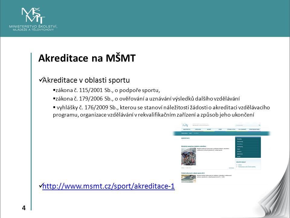 4 Akreditace na MŠMT Akreditace v oblasti sportu  zákona č. 115/2001 Sb., o podpoře sportu,  zákona č. 179/2006 Sb., o ověřování a uznávání výsledků