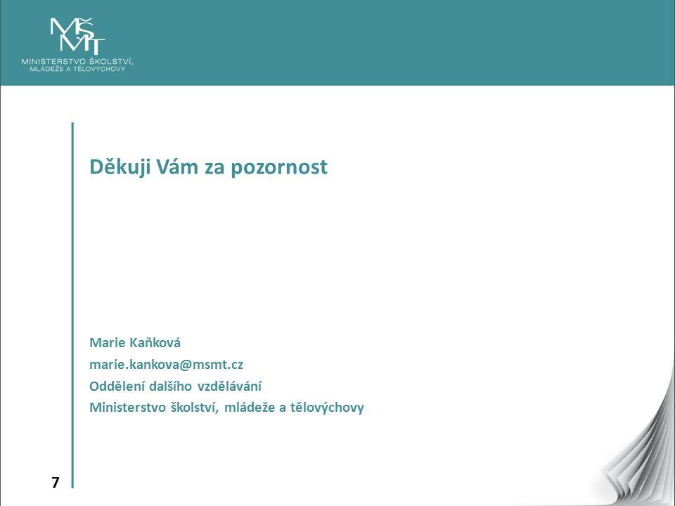 7 Děkuji Vám za pozornost Marie Kaňková marie.kankova@msmt.cz Oddělení dalšího vzdělávání Ministerstvo školství, mládeže a tělovýchovy