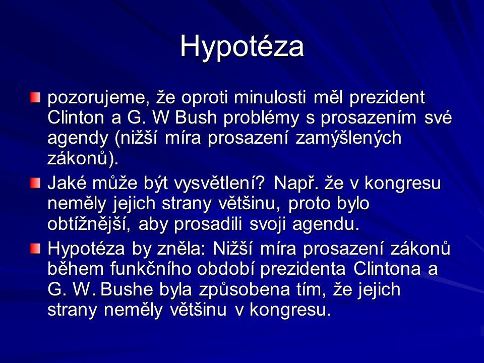 Hypotéza pozorujeme, že oproti minulosti měl prezident Clinton a G.