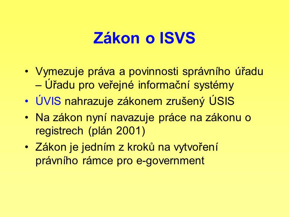 Zákon o ISVS Vymezuje práva a povinnosti správního úřadu – Úřadu pro veřejné informační systémy ÚVIS nahrazuje zákonem zrušený ÚSIS Na zákon nyní nava