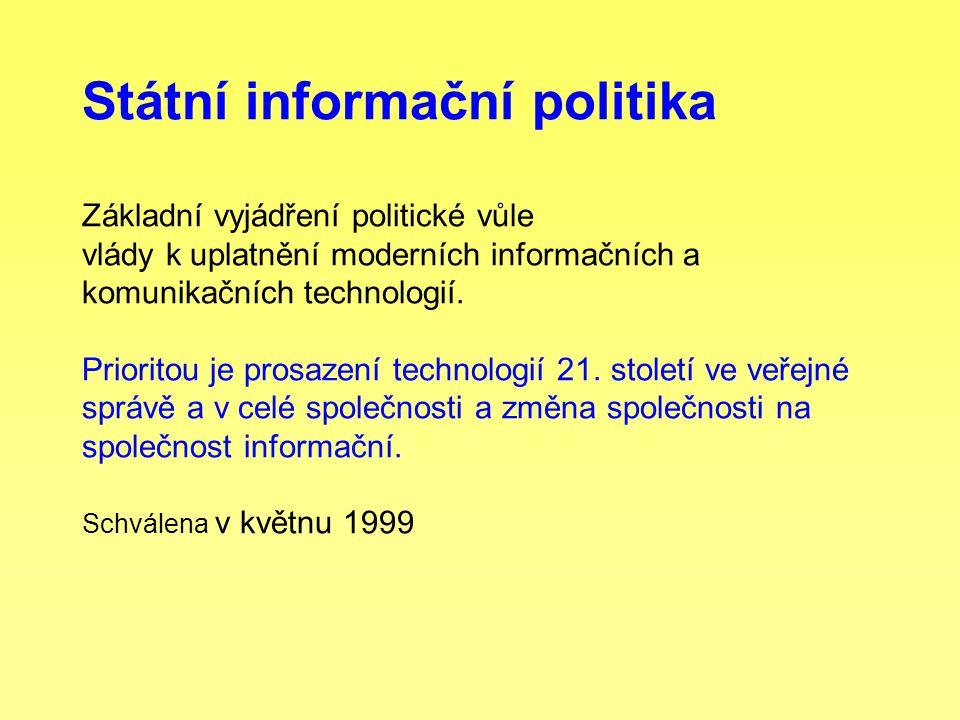 Státní informační politika Základní vyjádření politické vůle vlády k uplatnění moderních informačních a komunikačních technologií. Prioritou je prosaz