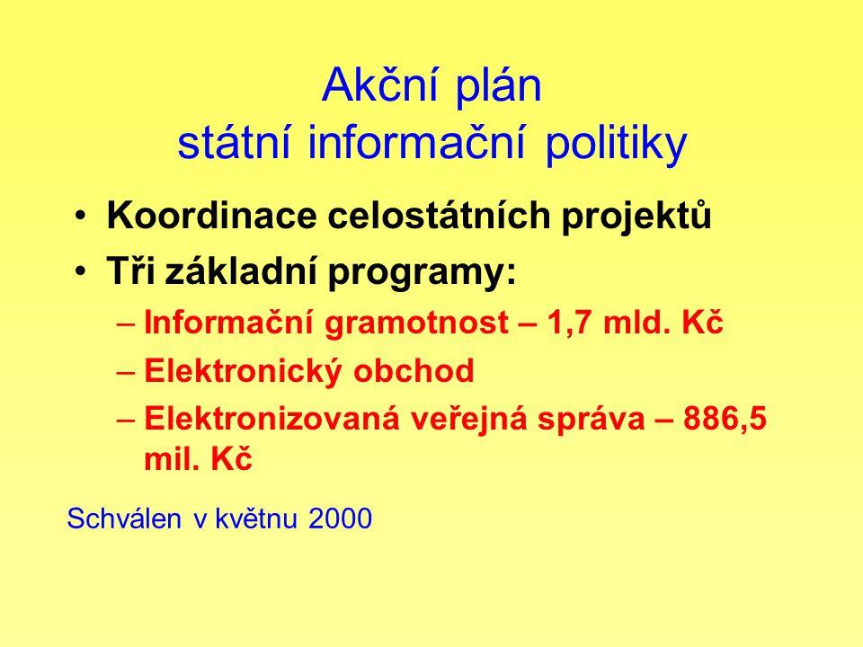 Akční plán státní informační politiky Koordinace celostátních projektů Tři základní programy: –Informační gramotnost – 1,7 mld. Kč –Elektronický obcho