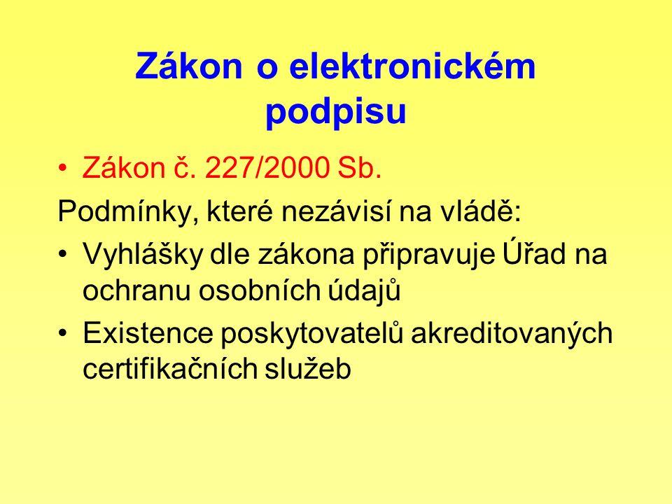 Zákon o elektronickém podpisu Zákon č. 227/2000 Sb. Podmínky, které nezávisí na vládě: Vyhlášky dle zákona připravuje Úřad na ochranu osobních údajů E