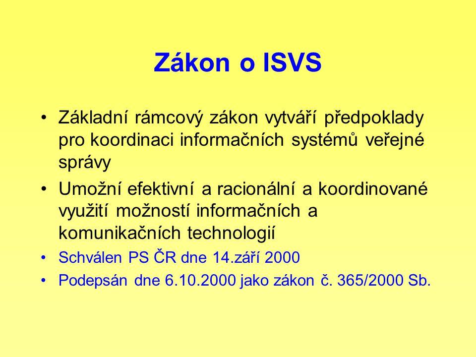 Zákon o ISVS Základní rámcový zákon vytváří předpoklady pro koordinaci informačních systémů veřejné správy Umožní efektivní a racionální a koordinovan