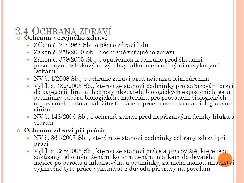 2.5 D ALŠÍ SOUVISEJÍCÍ PŘEDPISY Pojištění: Zákon č.