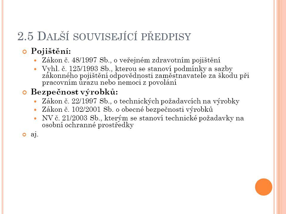 2.5 D ALŠÍ SOUVISEJÍCÍ PŘEDPISY Pojištění: Zákon č. 48/1997 Sb., o veřejném zdravotním pojištění Vyhl. č. 125/1993 Sb., kterou se stanoví podmínky a s