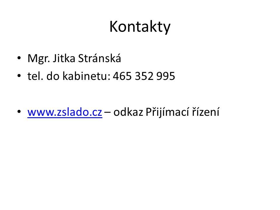 Kontakty Mgr. Jitka Stránská tel. do kabinetu: 465 352 995 www.zslado.cz – odkaz Přijímací řízení www.zslado.cz