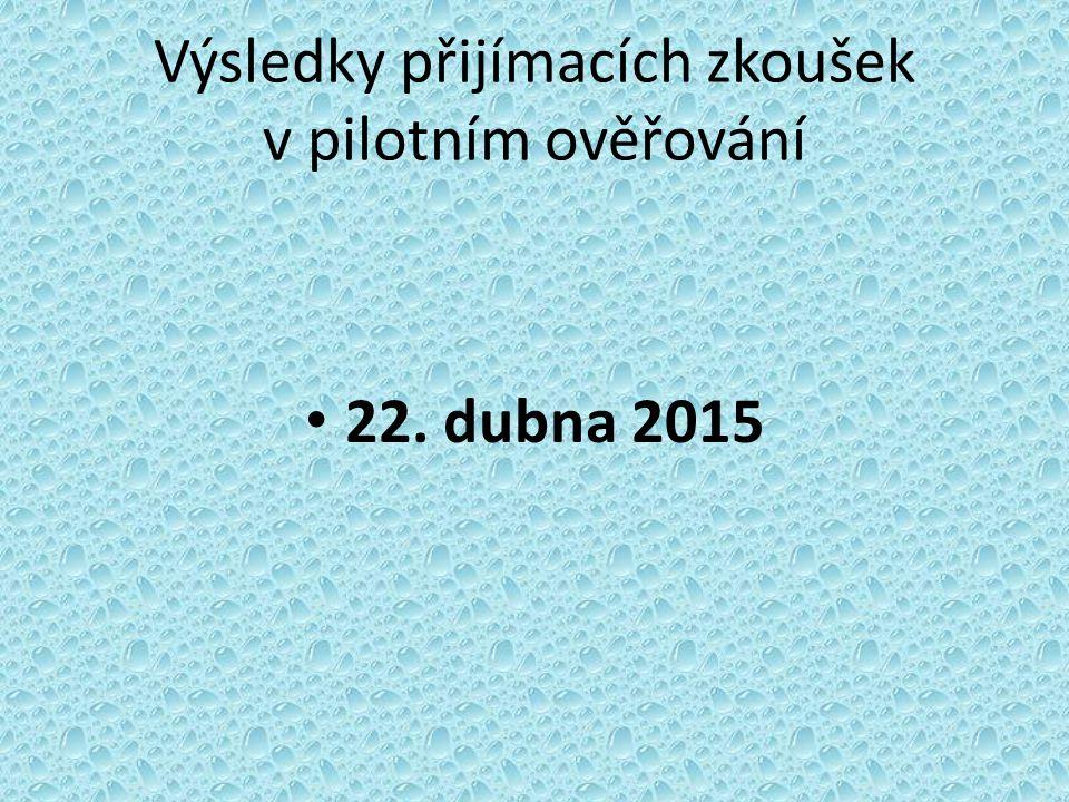 Výsledky přijímacích zkoušek v pilotním ověřování 22. dubna 2015
