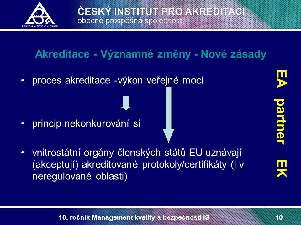 10. ročník Management kvality a bezpečnosti IS10 Akreditace - Významné změny - Nové zásady proces akreditace -výkon veřejné moci princip nekonkurování
